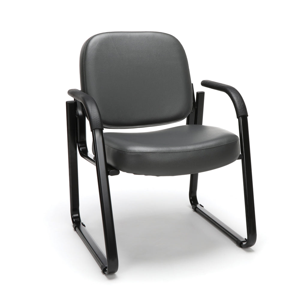 OFM Model 403-VAM Guest and Reception Chair with Arms, Anti-Microbial/Anti-Bacterial Vinyl, Charcoal ; UPC: 811588014200 ; Image 1