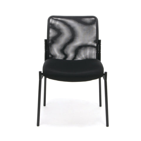 Essentials by OFM ESS-8000 Mesh Back Upholstered Armless Side Chair, Black ; UPC: 845123089385 ; Image 2