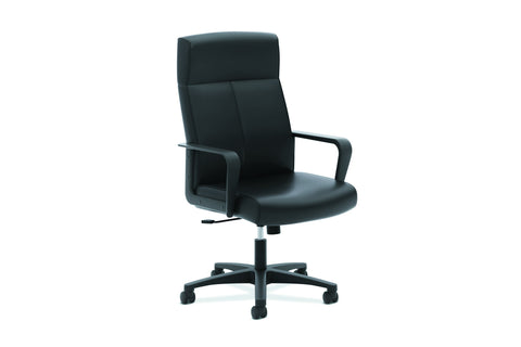 HON Validate High-Back Executive Task Chair, Fixed Arms, in Black Leather (HVL604) ; UPC: 888531643459 ; Image 1