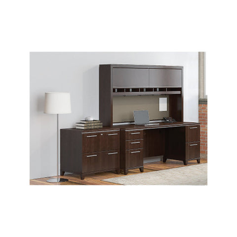 Bush Enterprise Collection 72W X 30D Double Pedestal Desk with Hutch/Lateral File, Mocha Cherry ENT001MR ; UPC: 042976505165 ; Image 2