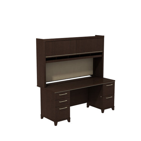 Bush Enterprise Collection 72W X 30D Double Pedestal Desk with Hutch, Mocha Cherry ENT006MR ; UPC: 042976505370 ; Image 1