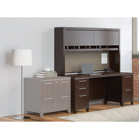 Bush Enterprise Collection 72W X 30D Double Pedestal Desk with Hutch, Mocha Cherry ENT006MR ; UPC: 042976505370 ; Image 2