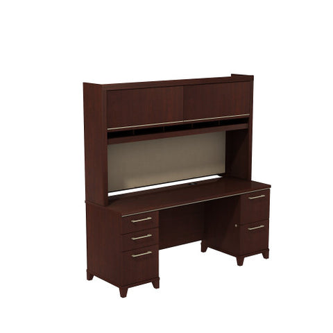 Bush Enterprise Collection 72W X 24D Double Pedestal Desk with Hutch, Harvest Cherry ENT010CS ; UPC: 042976505448 ; Image 1