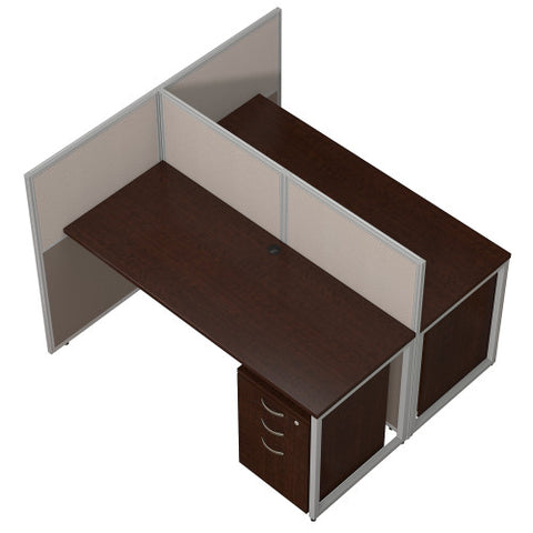 Bush Easy Office Collection 60W 2 Person Straight Desk Open Office, Mocha Cherry EOD460SMR03K ; UPC: 042976365714 ; Image 3