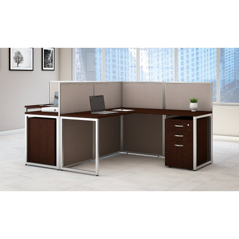 Bush Easy Office Collection 60W 2 Person L Desk Open Office w Mobile Pedestals, Mocha Cherry EOD560SMR03K ; UPC: 042976365738 ; Image 2