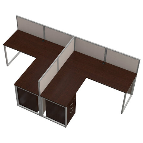 Bush Easy Office Collection 60W 2 Person L Desk Open Office w Mobile Pedestals, Mocha Cherry EOD560SMR03K ; UPC: 042976365738 ; Image 3