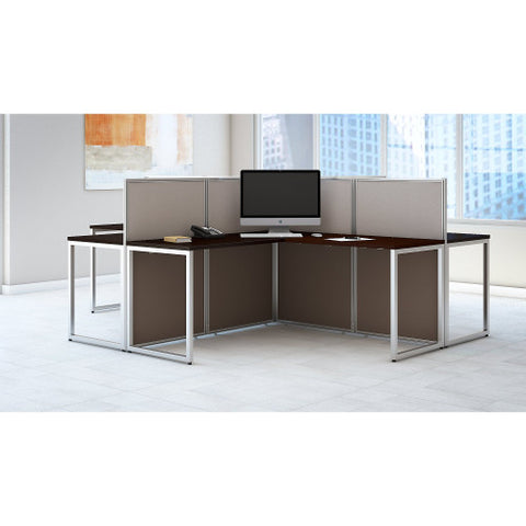 Bush Easy Office Collection 60W 4 Person L Desk Open Office, Mocha Cherry EOD760MR03K ; UPC: 042976365608 ; Image 2