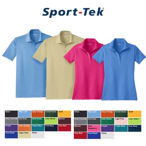 Sport-Tek ST560 and LST560 Polo Tshirts with color swatch options beneath