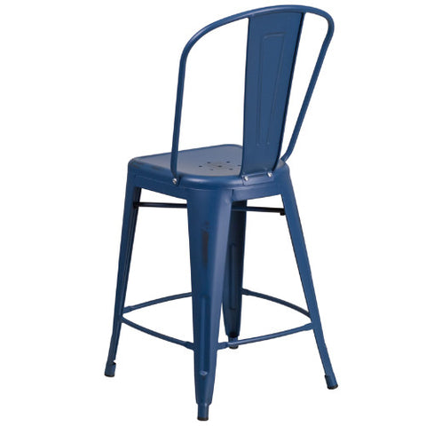 Flash Furniture 24'' High Distressed Antique Blue Metal Indoor-Outdoor Counter Height Stool with Back ET353424ABGG ; Image 3 ; UPC 889142080961