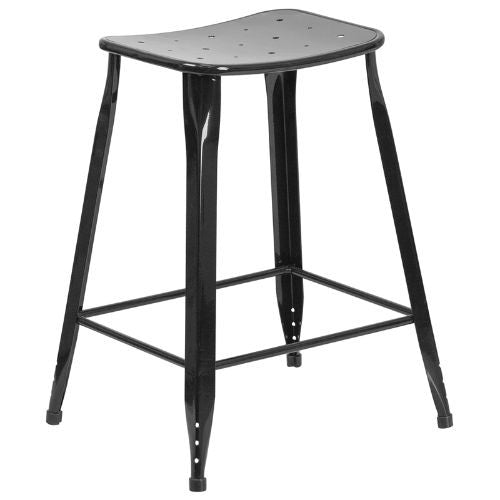 24'' High Black Metal Indoor-Outdoor Counter Height Stool; (UPC: 889142047049); Black