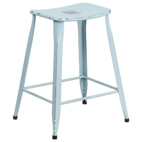 24'' High Distressed Dream Blue Metal Indoor-Outdoor Counter Height Stool; (UPC: 889142047162); Blue