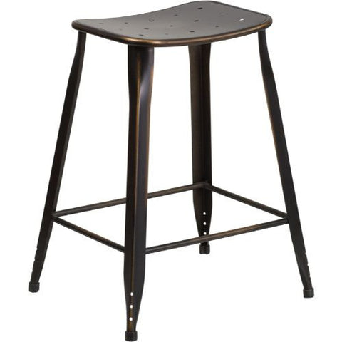 24'' High Distressed Copper Metal Indoor-Outdoor Counter Height Stool; (UPC: 889142047193); Copper