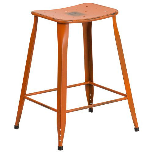 24'' High Distressed Orange Metal Indoor-Outdoor Counter Height Stool; (UPC: 889142047179); Orange