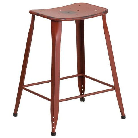 24'' High Distressed Kelly Red Metal Indoor-Outdoor Counter Height Stool; (UPC: 889142047186); Red