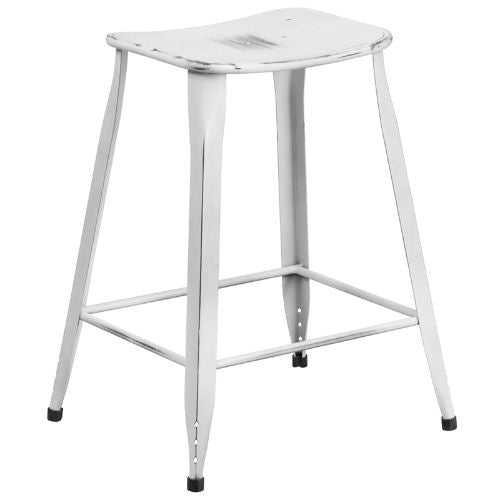 24'' High Distressed White Metal Indoor-Outdoor Counter Height Stool; (UPC: 889142047155); White