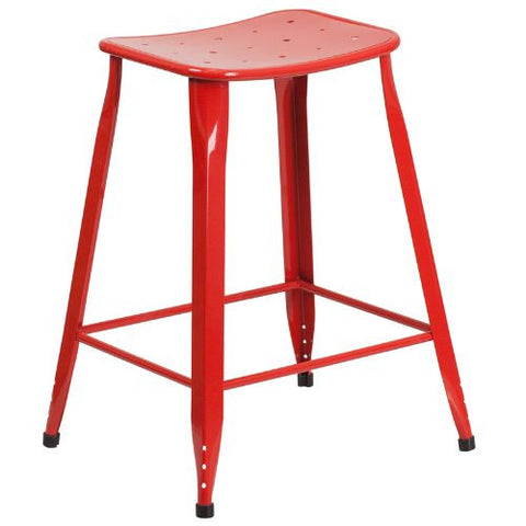 24'' High Red Metal Indoor-Outdoor Counter Height Stool; (UPC: 889142047070); Red