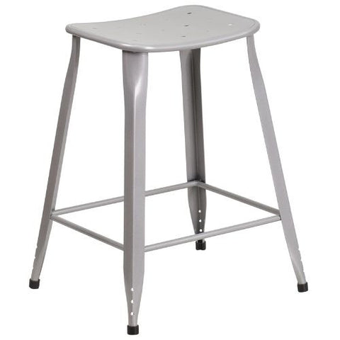 24'' High Silver Metal Indoor-Outdoor Counter Height Stool; (UPC: 889142047063); Silver