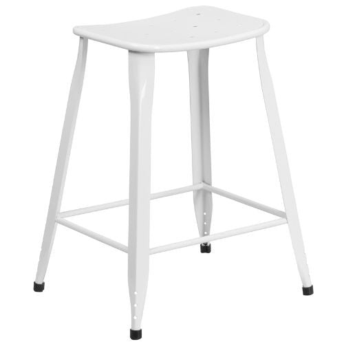 24'' High White Metal Indoor-Outdoor Counter Height Stool; (UPC: 889142047056); White