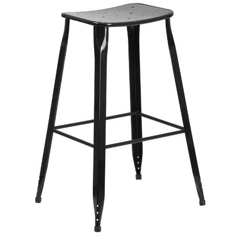30'' High Black Metal Indoor-Outdoor Barstool; (UPC: 889142047094); Black