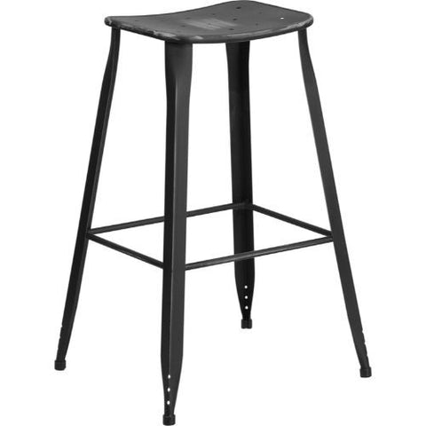 30'' High Distressed Black Metal Indoor-Outdoor Barstool; (UPC: 889142047209); Black