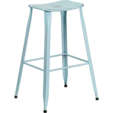 30'' High Distressed Dream Blue Metal Indoor-Outdoor Barstool; (UPC: 889142047223); Blue