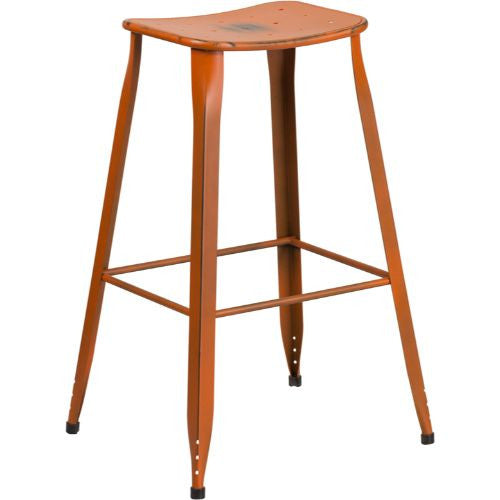 30'' High Distressed Orange Metal Indoor-Outdoor Barstool; (UPC: 889142047230); Orange