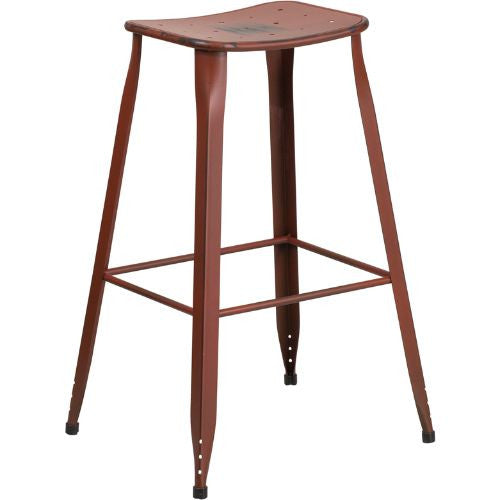 30'' High Distressed Kelly Red Metal Indoor-Outdoor Barstool; (UPC: 889142047247); Red