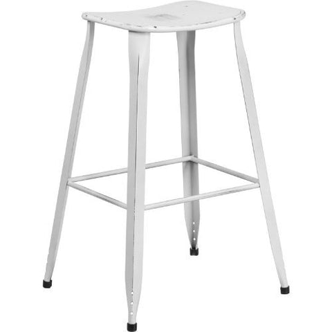 30'' High Distressed White Metal Indoor-Outdoor Barstool; (UPC: 889142047216); White