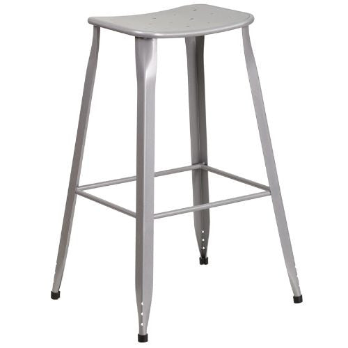 30'' High Silver Metal Indoor-Outdoor Barstool; (UPC: 889142047117); Silver