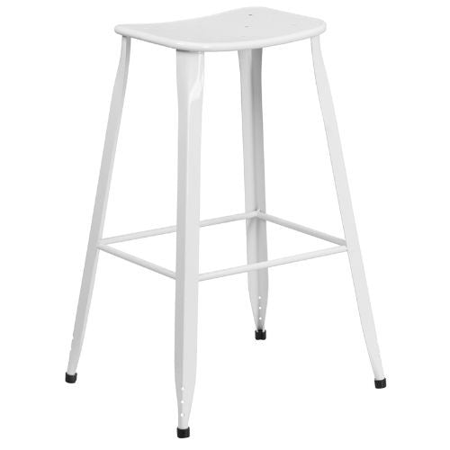 30'' High White Metal Indoor-Outdoor Barstool; (UPC: 889142047100); Silver