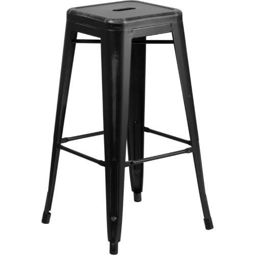 Flash Furniture 30'' High Backless Distressed Black Metal Indoor-Outdoor Barstool ETBT350330BKGG ; Image 1 ; UPC 889142024545