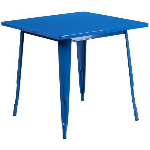 Flash Furniture 31.5'' Square Blue Metal Indoor-Outdoor Table ETCT0021BLGG ; Image 1 ; UPC 889142025979