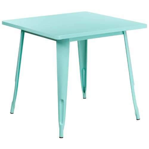 Flash Furniture 31.5'' Square Mint Green Metal Indoor-Outdoor Table ETCT0021MINTGG ; Image 1 ; UPC 889142049821