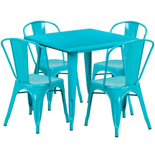Flash Furniture 31.5'' Square Crystal Teal-Blue Metal Indoor-Outdoor Table Set with 4 Stack Chairs ETCT002430CBGG ; Image 1 ; UPC 889142080916
