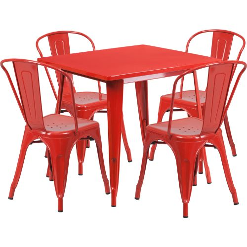 Flash Furniture 31.5'' Square Red Metal Indoor-Outdoor Table Set with 4 Stack Chairs ETCT002430REDGG ; Image 1 ; UPC 889142049173