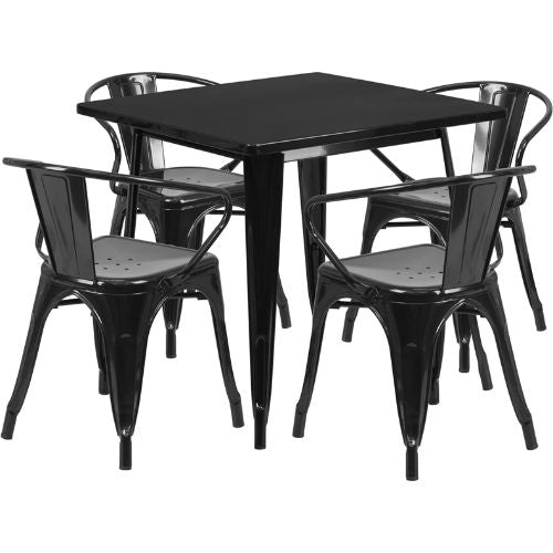 Flash Furniture 31.5'' Square Black Metal Indoor-Outdoor Table Set with 4 Arm Chairs ETCT002470BKGG ; Image 1 ; UPC 889142049210