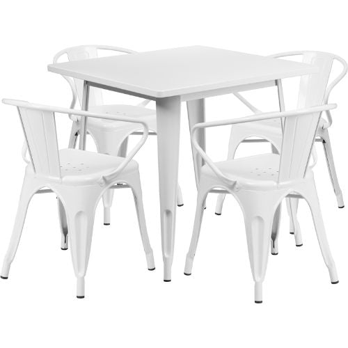 Flash Furniture 31.5'' Square White Metal Indoor-Outdoor Table Set with 4 Arm Chairs ETCT002470WHGG ; Image 1 ; UPC 889142049272