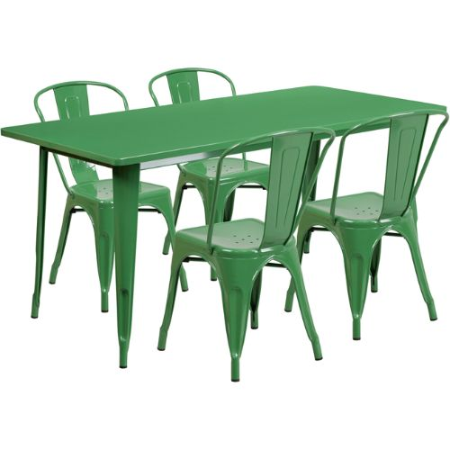 Flash Furniture 31.5'' x 63'' Rectangular Green Metal Indoor-Outdoor Table Set with 4 Stack Chairs ETCT005430GNGG ; Image 1 ; UPC 889142049319
