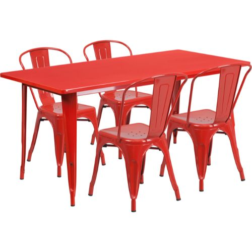 Flash Furniture 31.5'' x 63'' Rectangular Red Metal Indoor-Outdoor Table Set with 4 Stack Chairs ETCT005430REDGG ; Image 1 ; UPC 889142049333