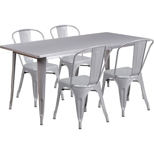 Flash Furniture 31.5'' x 63'' Rectangular Silver Metal Indoor-Outdoor Table Set with 4 Stack Chairs ETCT005430SILGG ; Image 1 ; UPC 889142049340