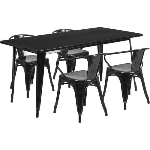 Flash Furniture 31.5'' x 63'' Rectangular Black Metal Indoor-Outdoor Table Set with 4 Arm Chairs ETCT005470BKGG ; Image 1 ; UPC 889142049371