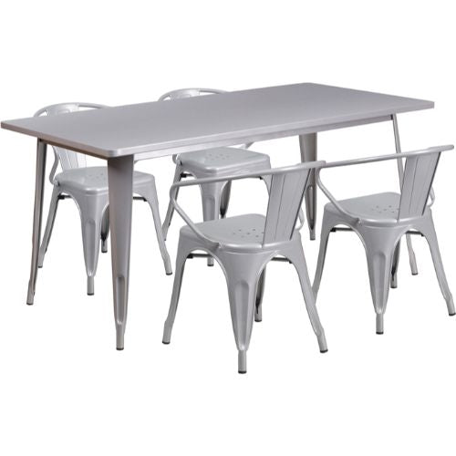 Flash Furniture 31.5'' x 63'' Rectangular Silver Metal Indoor-Outdoor Table Set with 4 Arm Chairs ETCT005470SILGG ; Image 1 ; UPC 889142049425