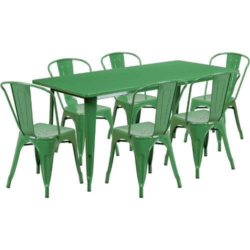 Flash Furniture 31.5'' x 63'' Rectangular Green Metal Indoor-Outdoor Table Set with 6 Stack Chairs ETCT005630GNGG ; Image 1 ; UPC 889142049470