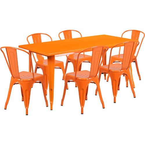 Flash Furniture 31.5'' x 63'' Rectangular Orange Metal Indoor-Outdoor Table Set with 6 Stack Chairs ETCT005630ORGG ; Image 1 ; UPC 889142049487