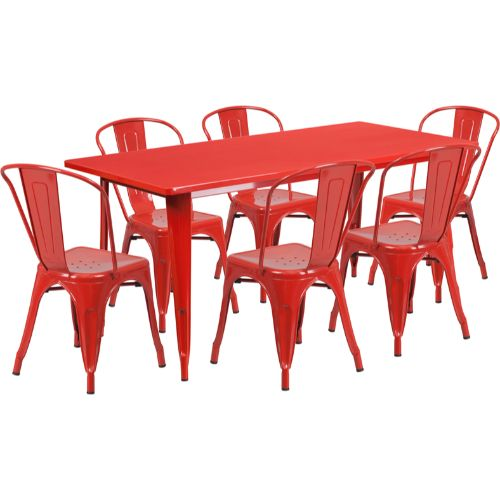 Flash Furniture 31.5'' x 63'' Rectangular Red Metal Indoor-Outdoor Table Set with 6 Stack Chairs ETCT005630REDGG ; Image 1 ; UPC 889142049494