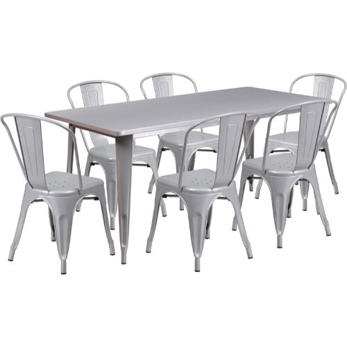 Flash Furniture 31.5'' x 63'' Rectangular Silver Metal Indoor-Outdoor Table Set with 6 Stack Chairs ETCT005630SILGG ; Image 1 ; UPC 889142049500