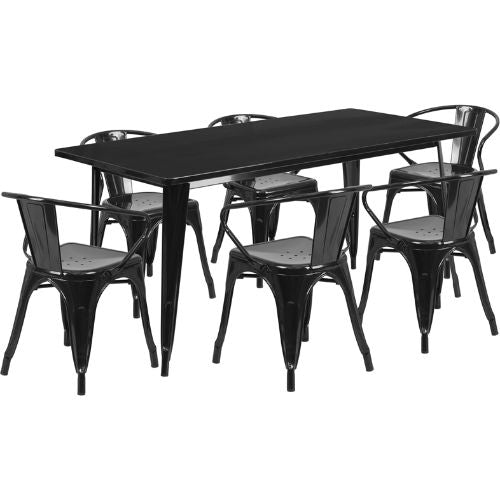 Flash Furniture 31.5'' x 63'' Rectangular Black Metal Indoor-Outdoor Table Set with 6 Arm Chairs ETCT005670BKGG ; Image 1 ; UPC 889142049531