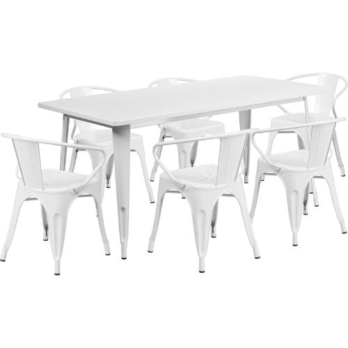 Flash Furniture 31.5'' x 63'' Rectangular White Metal Indoor-Outdoor Table Set with 6 Arm Chairs ETCT005670WHGG ; Image 1 ; UPC 889142049593