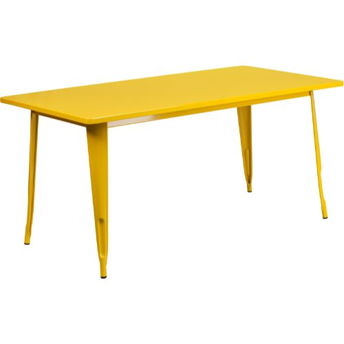 Flash Furniture 31.5'' x 63'' Rectangular Yellow Metal Indoor-Outdoor Table ETCT005YLGG ; Image 1 ; UPC 889142026136
