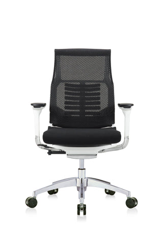 Eurotech Powerfit - White Frame, Mesh Back/ Fabric Seat, Black (Front View)